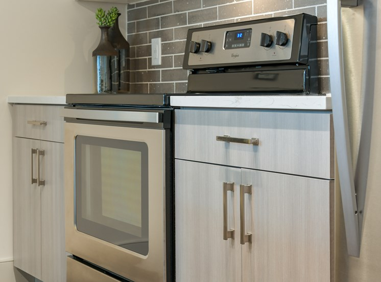 Model stainless steel appliances at Platform Apartments in Grant Park, Atlanta, GA