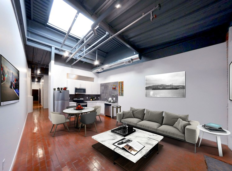Brick Floor Loft Apartment Living Room