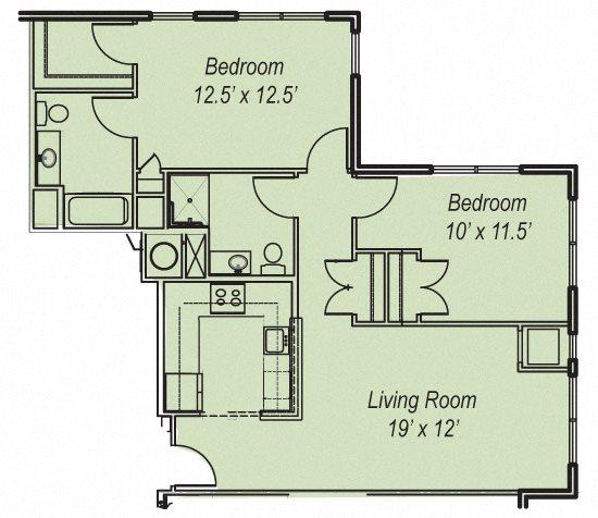 2 BR Floor Plan 3