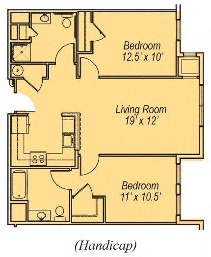 2 BR- Accessible Floor Plan 4
