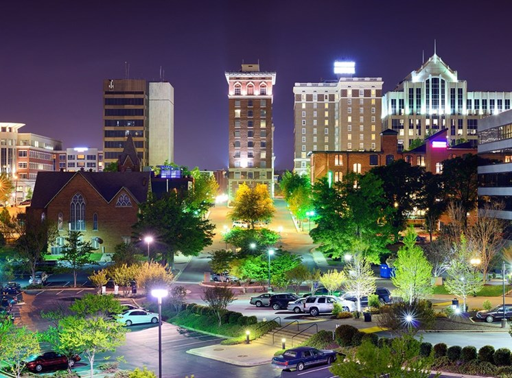 Night shot of downtown Greenville, SC
