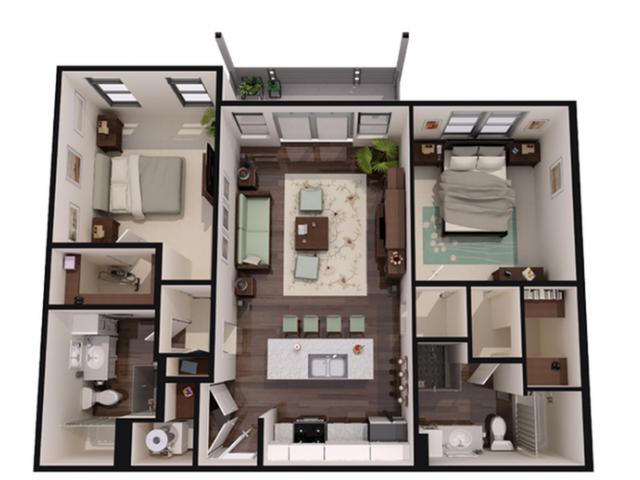 2 bed_2 bath Floor Plan 4
