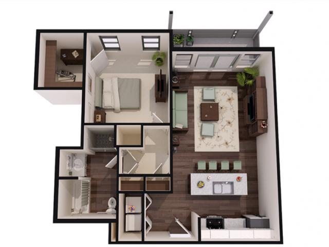 1 bed 1 bath large Floor Plan 3