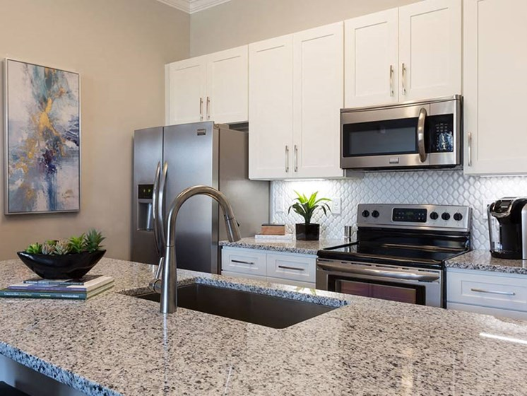 Modern, upgraded fully-equipped kitchen with stainless steel appliances and granite countertop at Overbrook Lofts in Greenville, SC 29607