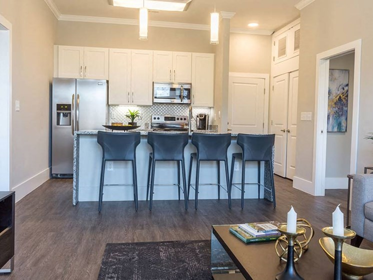 Modern fully-equipped kitchen with granite countertops, stainless steel appliances, and breakfast bar with seating at Overbrook Lofts in Greenville, SC 29607