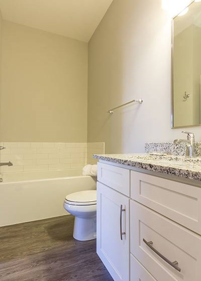 Modern bathroom with granite countertops, wood plank flooring, and white cabinets at Overbrook Lofts in Greenville, SC 29607