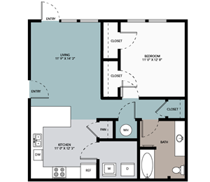 1 bedroom / 1 bathroom A