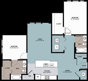 2 bedroom / 2 bathroom AC