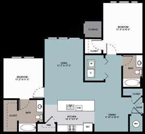 2 bedroom / 2 bathroom A
