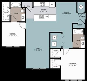 2 bedroom / 2 bathroom B