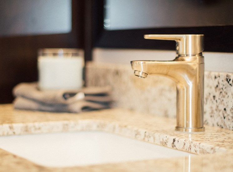 Solid Cultured Marble Bathroom Counter Tops at The Edison at Avonlea, Lakeville