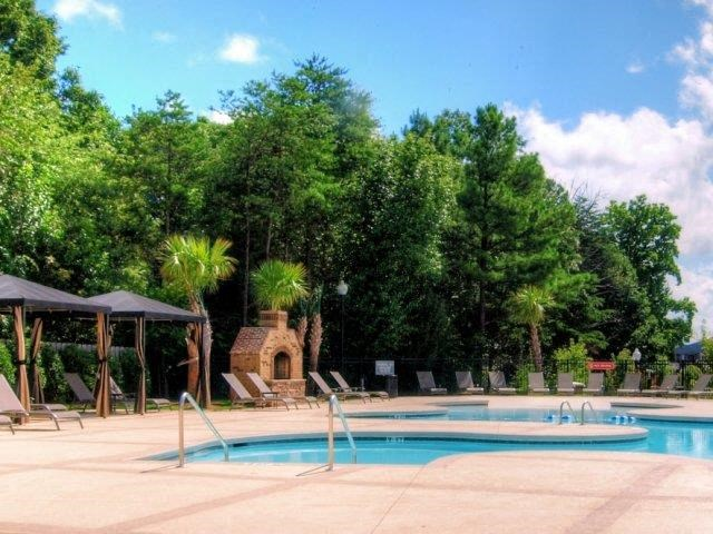 Shaded Lounge Area by Pool at Hayleigh Village Apartments, North Carolina, 27410