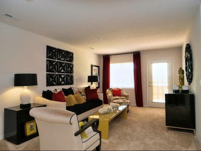 Contemporary Living Room at Hayleigh Village Apartments, Greensboro, NC, 27410