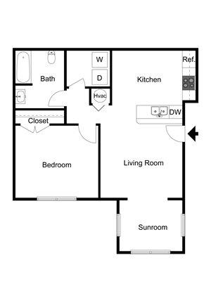 One Bedroom 2-D Floor Plan