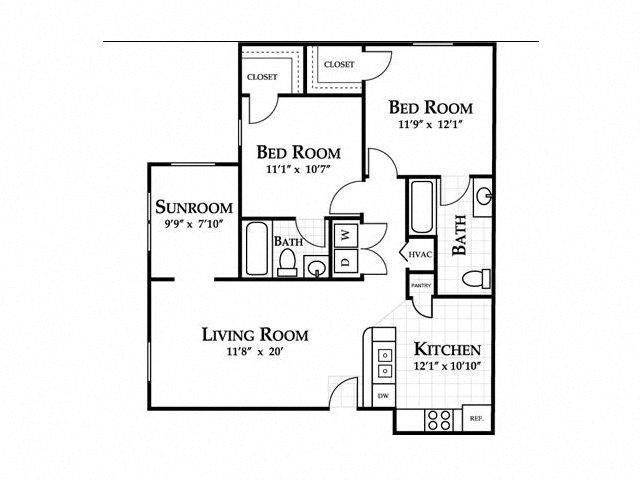 2 Bedroom (sunroom optional) Floor Plan 2