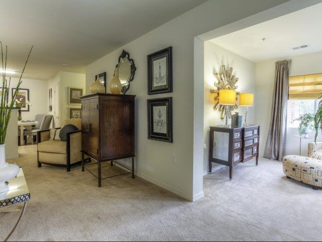 Carpeted Living Room at Alaris Village Apartments, North Carolina