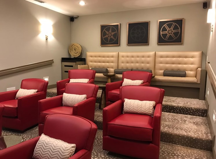 movie theater at alaris apartments with comfortable seating