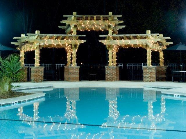 Night View of Sparkling Pool at Alaris Village Apartments, Winston-Salem