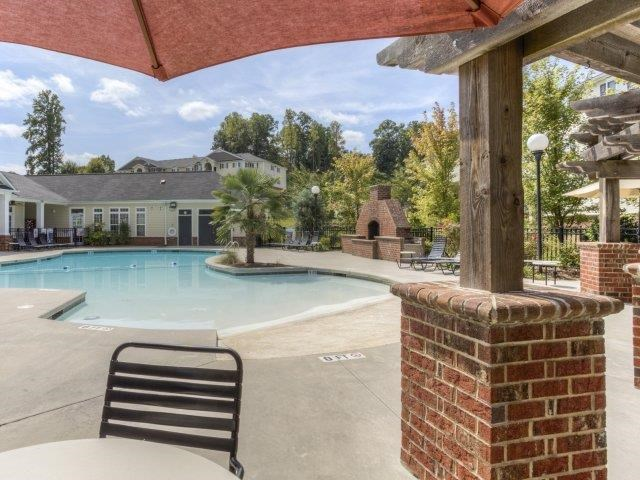 Shaded Lounge Area by Pool at Alaris Village Apartments, Winston-Salem, NC
