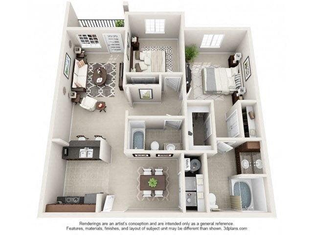 Holderness Floor Plan at Kilnsea Village Apartments, South Carolina