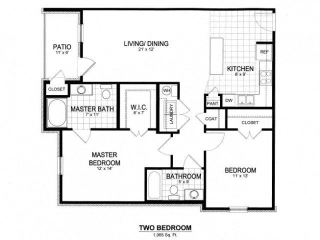 Yorkshire Floor Plan at Kilnsea Village Apartments, Summerville, South Carolina