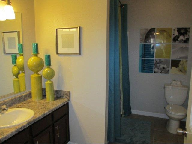 Bathrooms With Granite Style Countertops at Kilnsea Village Apartments, Summerville, SC, 29485