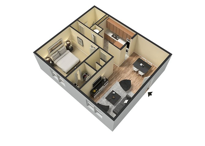 1 bed_1 bath Floor Plan 2