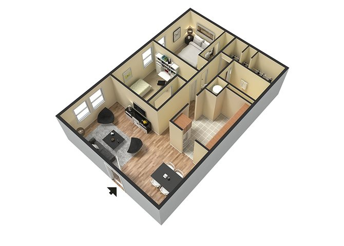 2 bed_1 bath Floor Plan 3