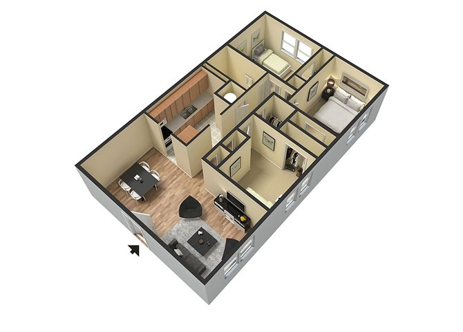 3 bed_1 bath Floor Plan 4