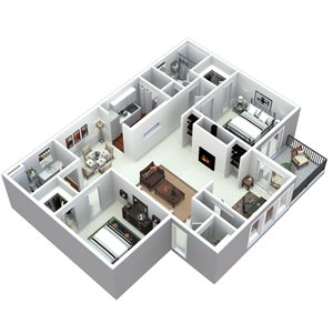 3-d 2 bedroom floor plan