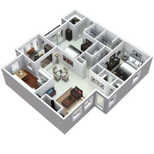 3D 2 bedroom floorplan