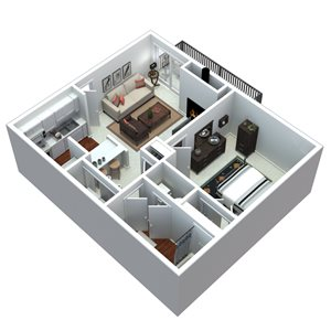 3-D 1 bedroom floorplan
