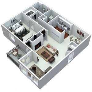 3D 1 bedroom floorplan