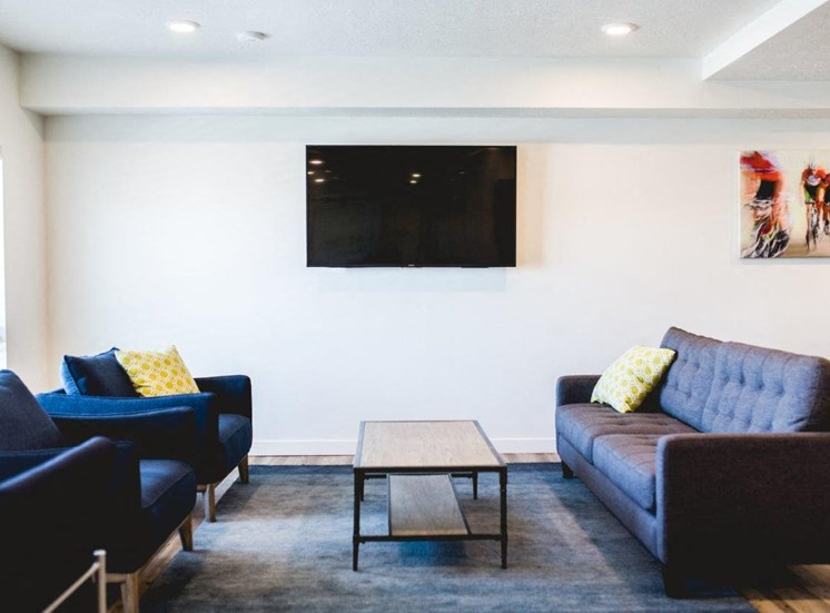 Clubhouse with lounge seating and tv