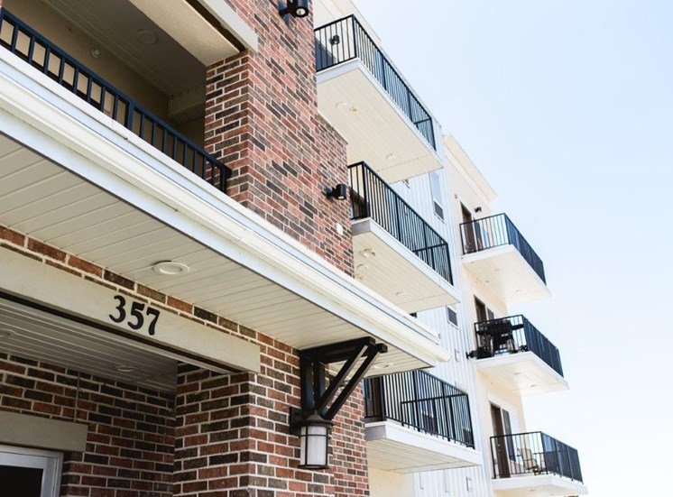 Building exterior with balconies