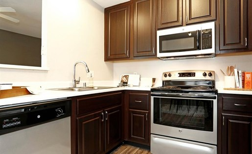 Renovated kitchen at Somerfield at Lakeside Apartments in Elk Grove CA
