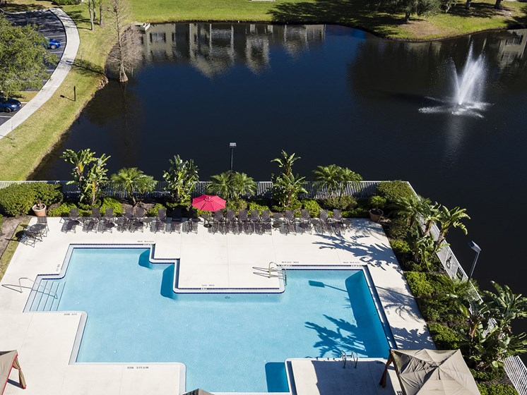 Aerial view of pool and lake