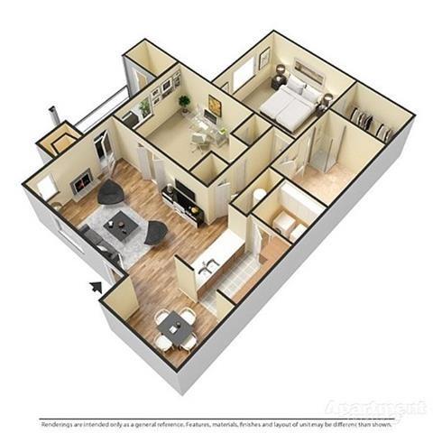1 Bedroom, 1 Bathroom with Den Floor Plan 2