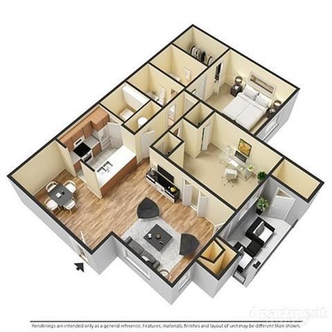 1 Bedroom, 2 Bathrooms with Den Floor Plan 3