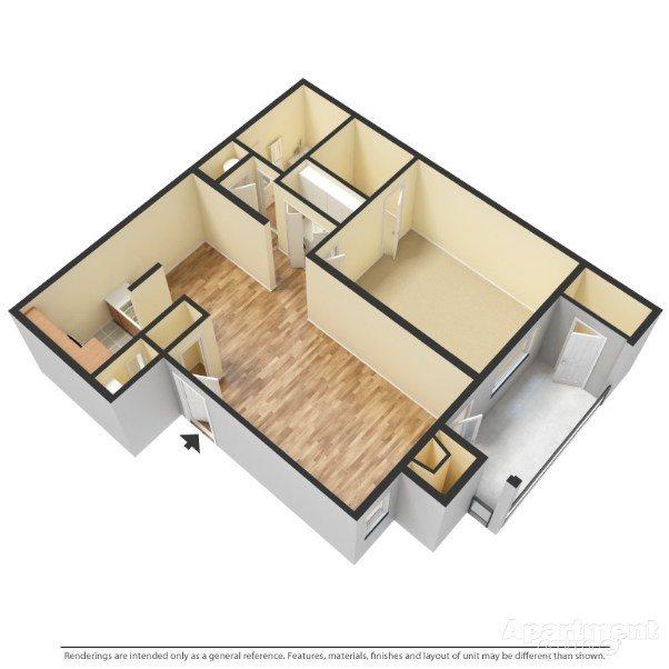 1 Bedroom, 1 Bathroom Floor Plan 1