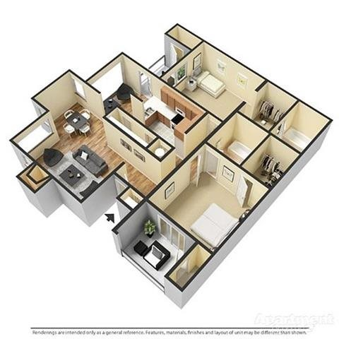 2 Bedrooms, 2 Bathrooms with Sunroom Floor Plan 5