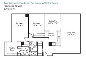 Two Bedroom, Two Bath - Penthouse w/Dining Room
