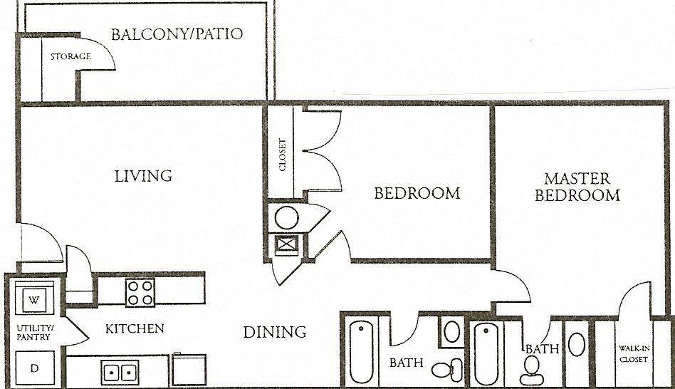 2 Bedroom, 2 Bath - Large Floor Plan 2