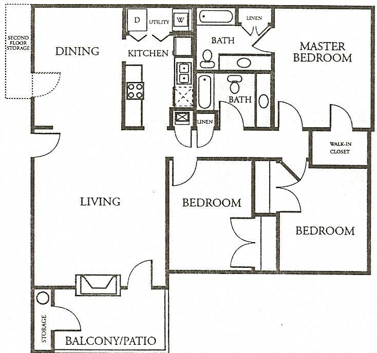 3 Bedroom, 2 Bath Floor Plan 5