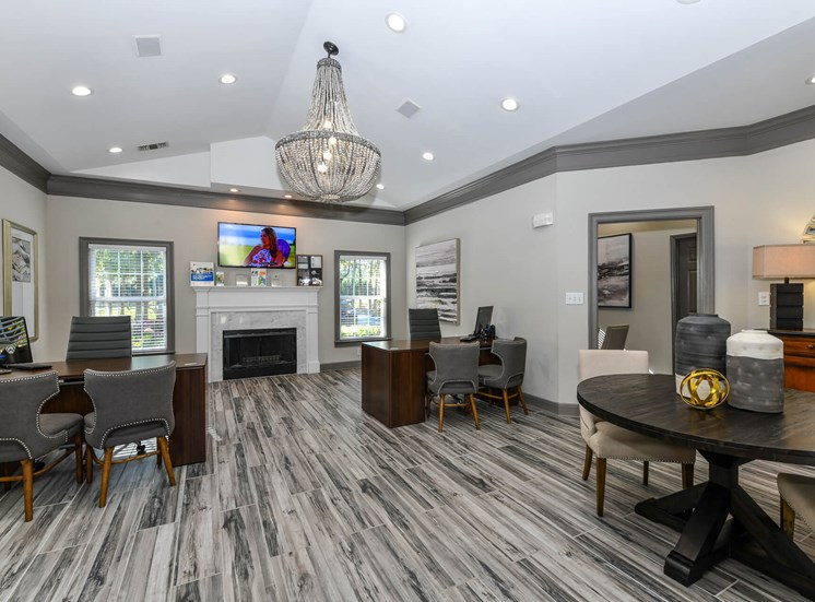 Gorgeous Remodeled Clubhouse and Leasing Office with Grey Accents and Tile Floors at Lake Cameron Apartment Homes, Apex, NC 27523