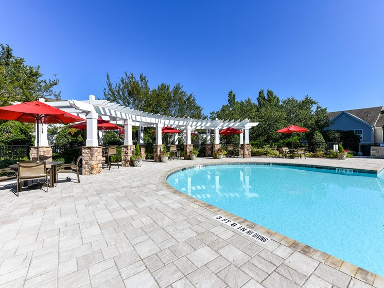 Refreshing Swimming Pool with Relaxing Poolside Patio and Wi-Fi Access at Lake Cameron Apartment Homes, Apex, NC 27523