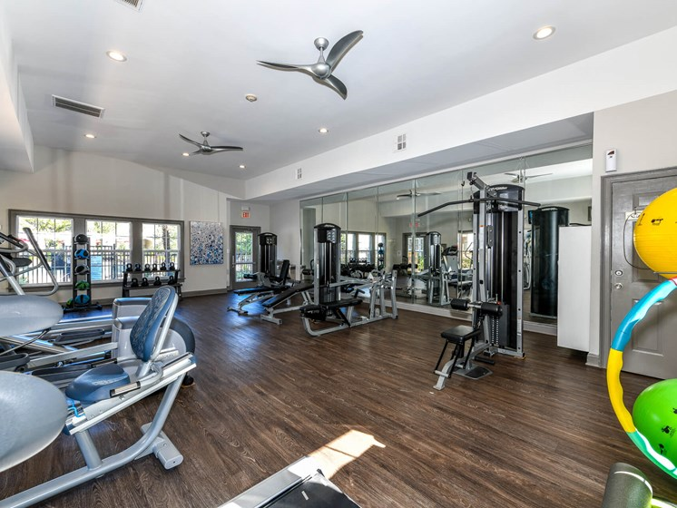 Health and Fitness Center Fully Equipped with state-of-the-art Freemotion Strength Training Equipment at Lake Cameron Apartment Homes, Apex, NC 27523