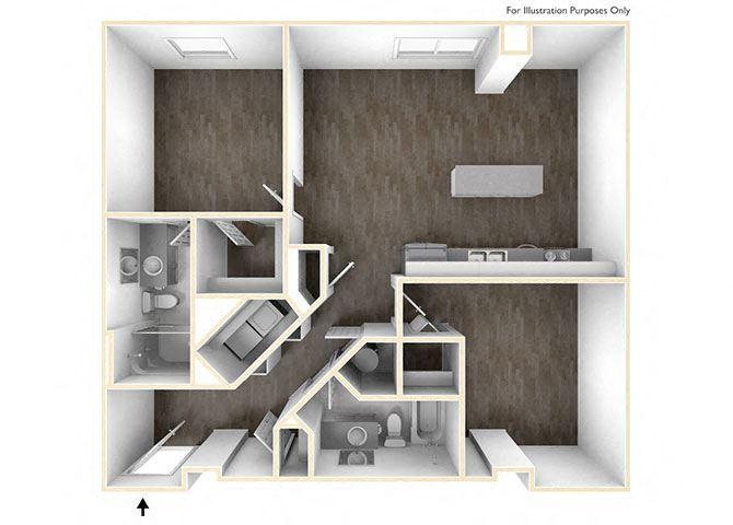 One-Bedroom-w-Den Floor Plan at Skyline Tower Apartments, Fort Wayne, Indiana