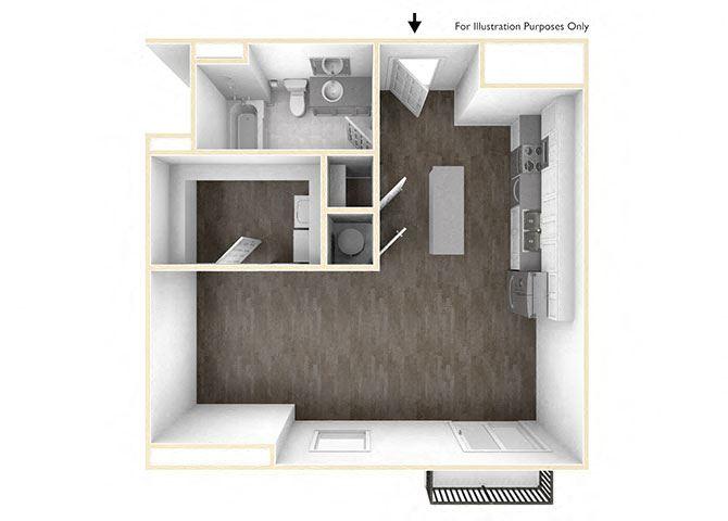 Studio Floor Plan 3D at Skyline Tower Apartments, Fort Wayne, 46802