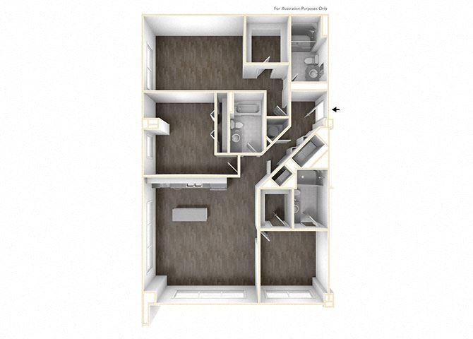 Three Bedroom Floor Plan at Skyline Tower Apartments, Fort Wayne, IN, 46802